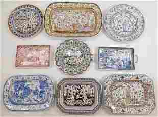 9PC Portuguese Porcelain Chargers & Plates Group