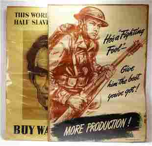 2PC WWII War Bonds & Production Posters