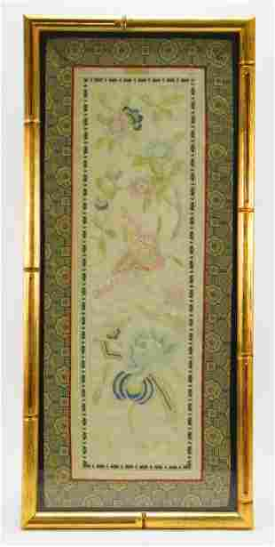 Chinese Butterfly Embroidered Silk Panel