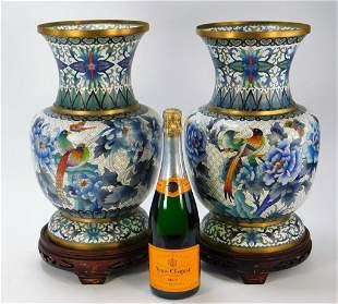 PR Chinese White Enamel Cloisonne Vases