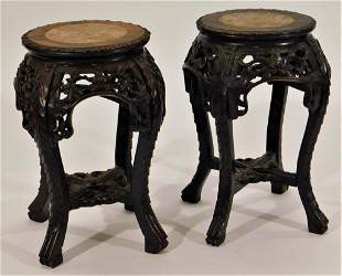 Chinese Near Pair Carved Wood Tables