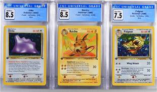 3PC Pokemon Fossil 1st Edition CGC Card Group