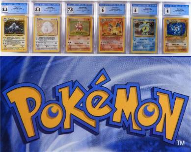 6 1999 Pokemon Base Unlimited Holo CGC Card Group