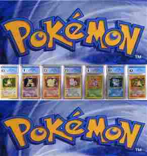 7PC 1999 Pokemon Base Unl. Holo CGC Card Group