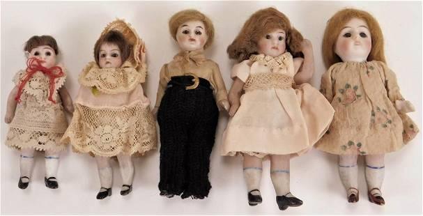 5PC German Bisque Miniature Dolls