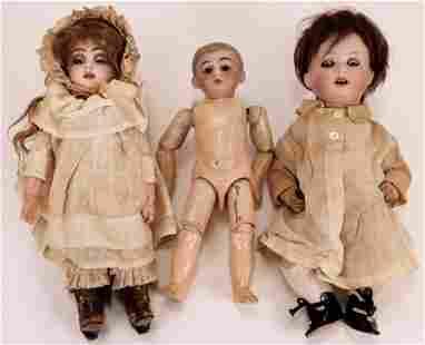 3PC Hermann Steiner & Other German Bisque Dolls