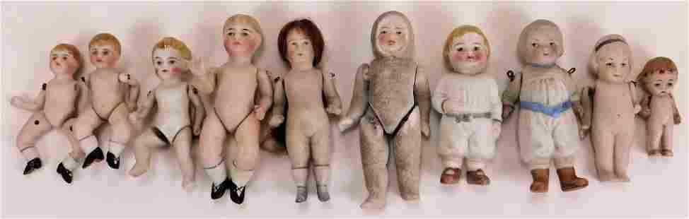 10PC German Miniature Bisque Dolls