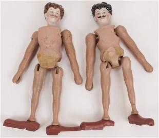 2PC Victorian Bisque Gentleman Dolls
