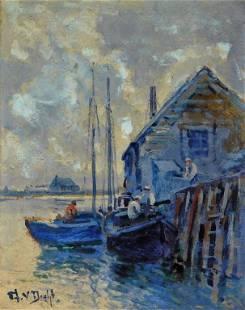 Arthur Vidal Diehl New England Dock Painting