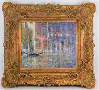 Guy Dessapt Impressionist Venetian Canal Painting