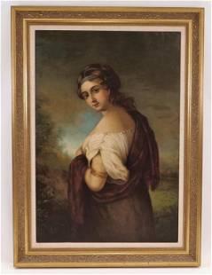 19C Pretty Female Neoclassical Portrait Painting