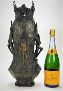 French Art Nouveau Nude Female Bronze Vase