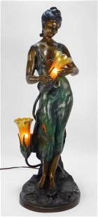 Aft. Auguste Moreau Art Nouveau Bronze Lamp