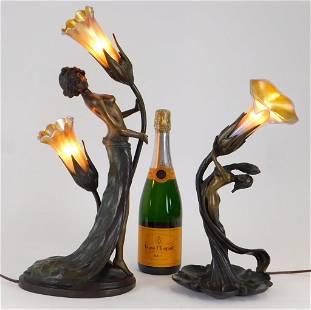 2PC Aft. Chiparus & Gurschner Bronze Figural Lamps