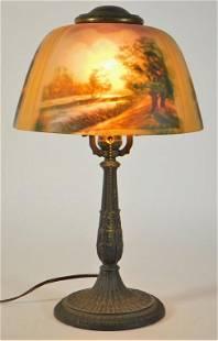 Country Scene Reverse Painted Boudoir Lamp