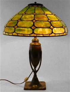 Tiffany Studios Leaded Green Glass Table Lamp