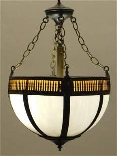 Slag Glass Overlay Hanging Ceiling Light Fixture