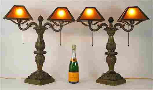 PR Bronze Acanthus Leaf Banker Style Desk Lamps