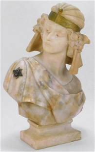 Egyptian Revival Carved Marble Bust of a Young Man