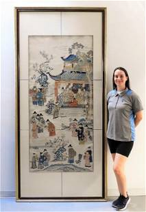 Exceptional 19C Chinese Embroidered Silk Textile