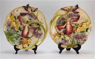 PR Mollica Majolica Sculpted Iris Plates