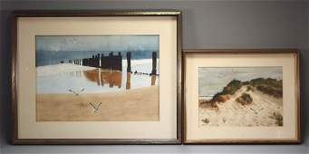 2 George Fish Watercolor Seascape Painting