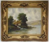 J. Spohr Dutch Gristmill Landscape Painting