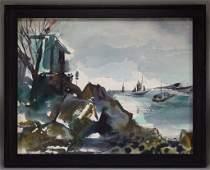 Dong Kingman Rocky Coastal Seascape Painting