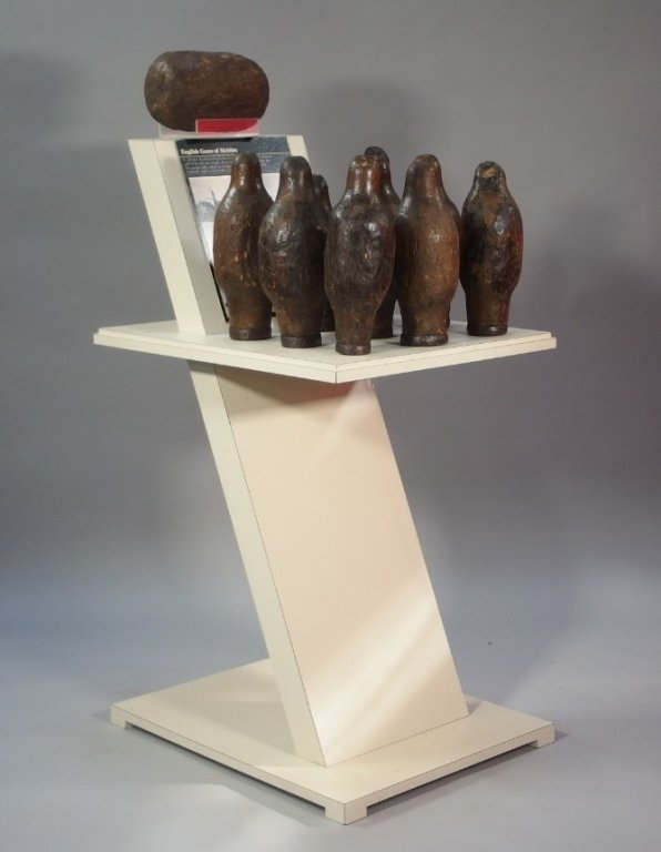 RARE and Unusual Carved Wood Skittle Bowling Game