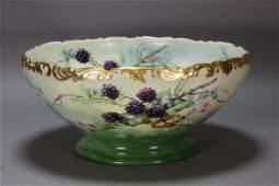T & V Limoges Blackberry Porcelain Punch Bowl
