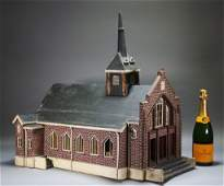 American Folk Art Carved Wood Church Model