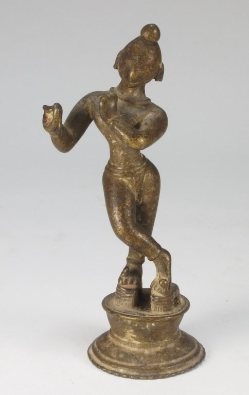 Indian Hindu Bronze Standing Krishna