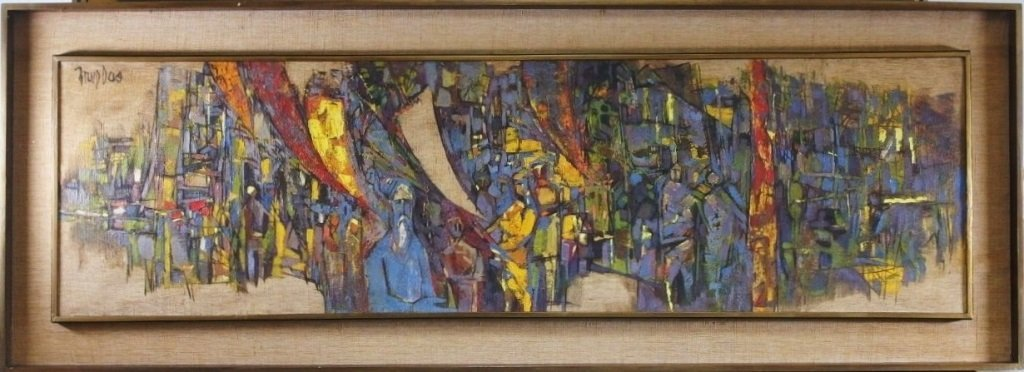 Arup Das Busy Market Scene Abstract Painting