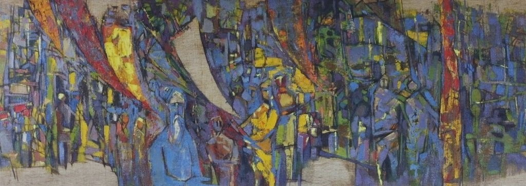 Arup Das Busy Market Scene Abstract Painting - 2
