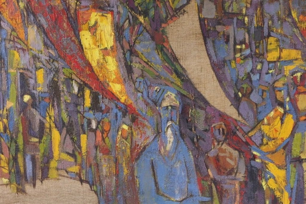 Arup Das Busy Market Scene Abstract Painting - 3