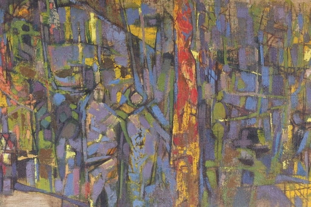 Arup Das Busy Market Scene Abstract Painting - 4
