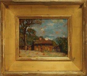 Robert Henry Logan Farm House Landscape Painting