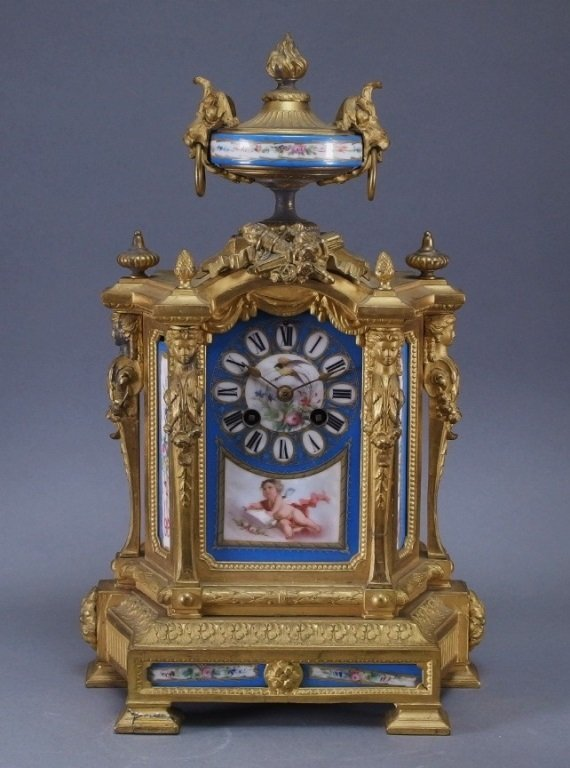 Phillipe H. Mourey French Gilt Bronze Mantle Clock