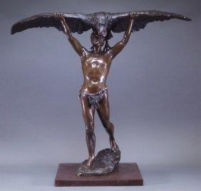 Ludgwig Graefner German Falconer Bronze Sculpture