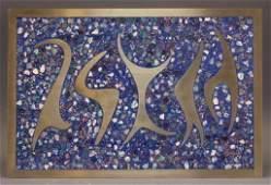 Sigi Pineda Mixed Media Mosaic Abstract Plaque