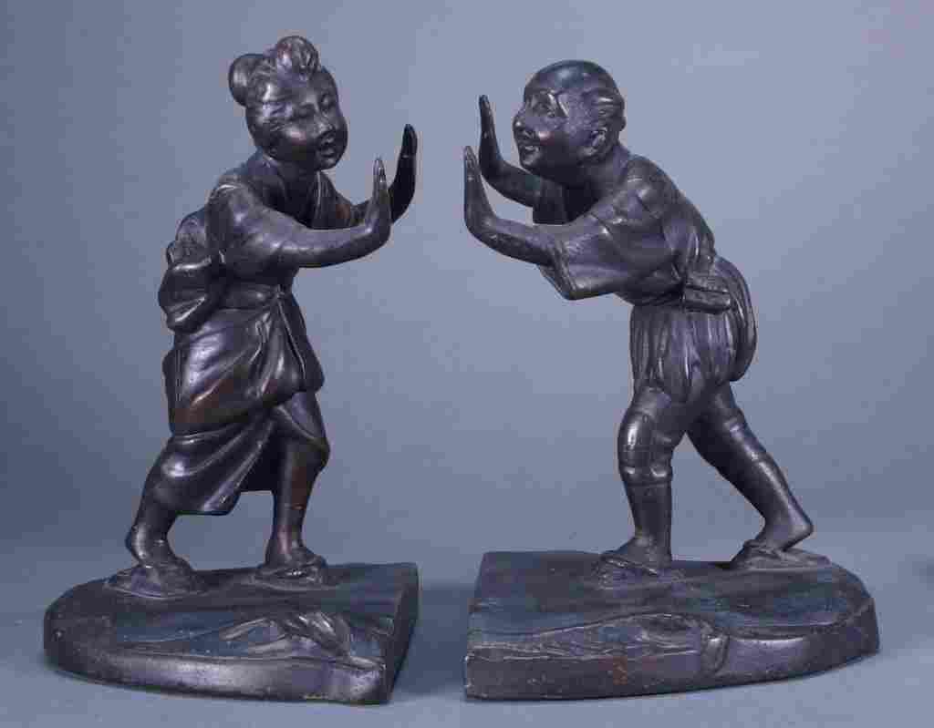 Bronze Chinoiserie Female & Male Figural Bookends