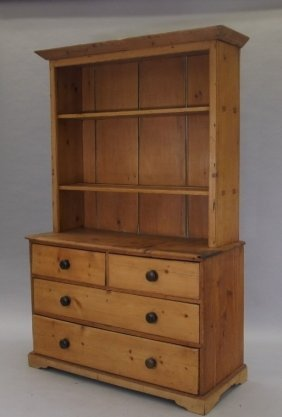Large American Pine Step Back Cabinet