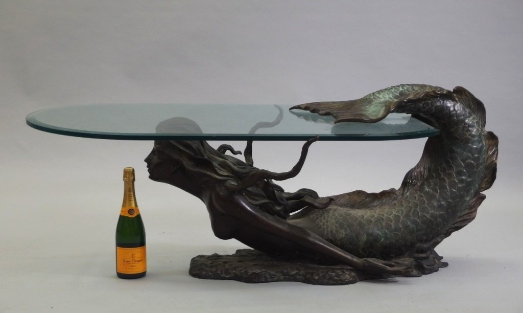 4 life size bronze mermaid & glass coffee table