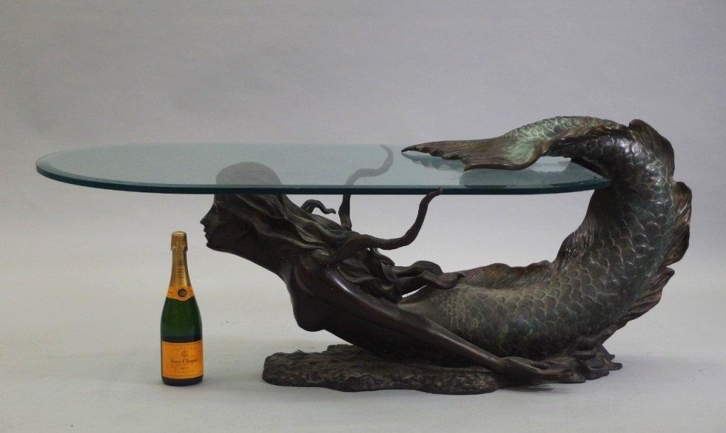 3/4 Life Size Bronze Mermaid & Glass Coffee Table