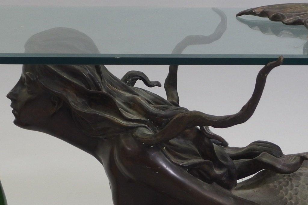 3/4 Life Size Bronze Mermaid & Glass Coffee Table - 2