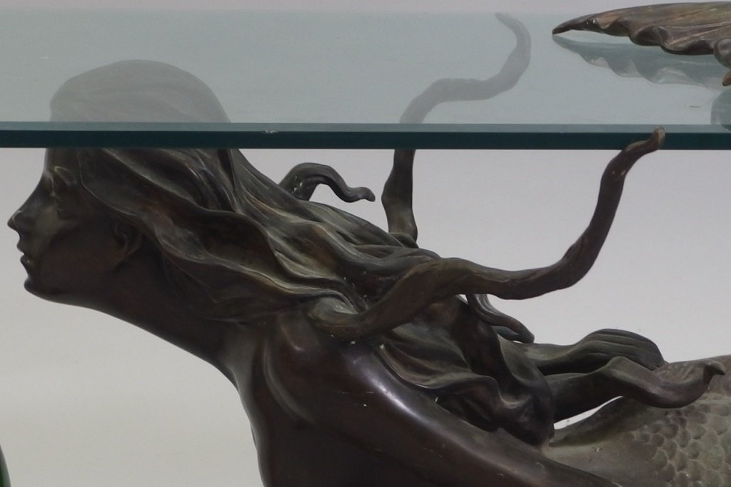 3/4 Life Size Bronze Mermaid & Glass Coffee Table - 3