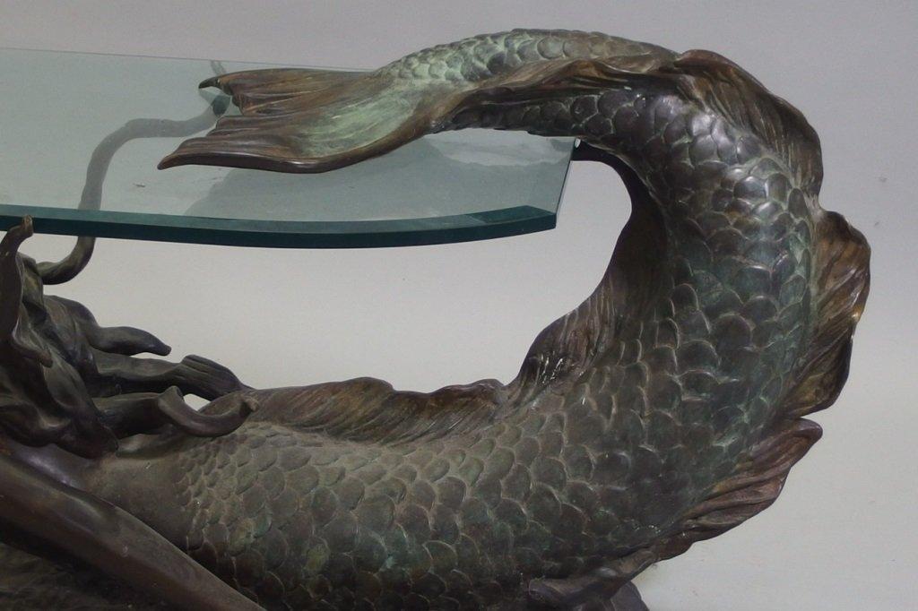 3/4 Life Size Bronze Mermaid & Glass Coffee Table - 4