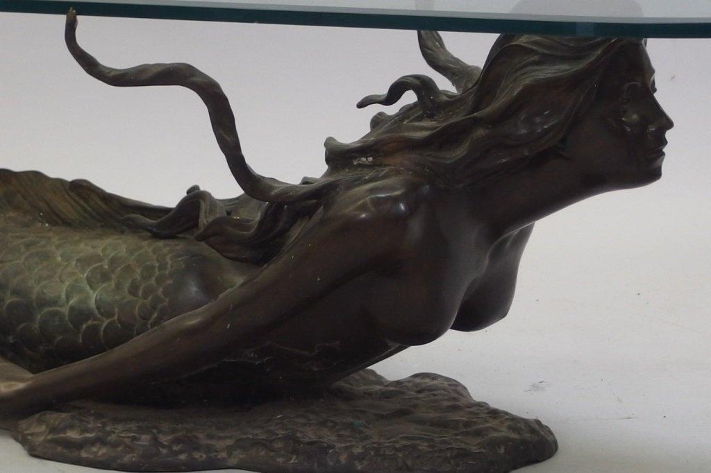 3/4 Life Size Bronze Mermaid & Glass Coffee Table - 8