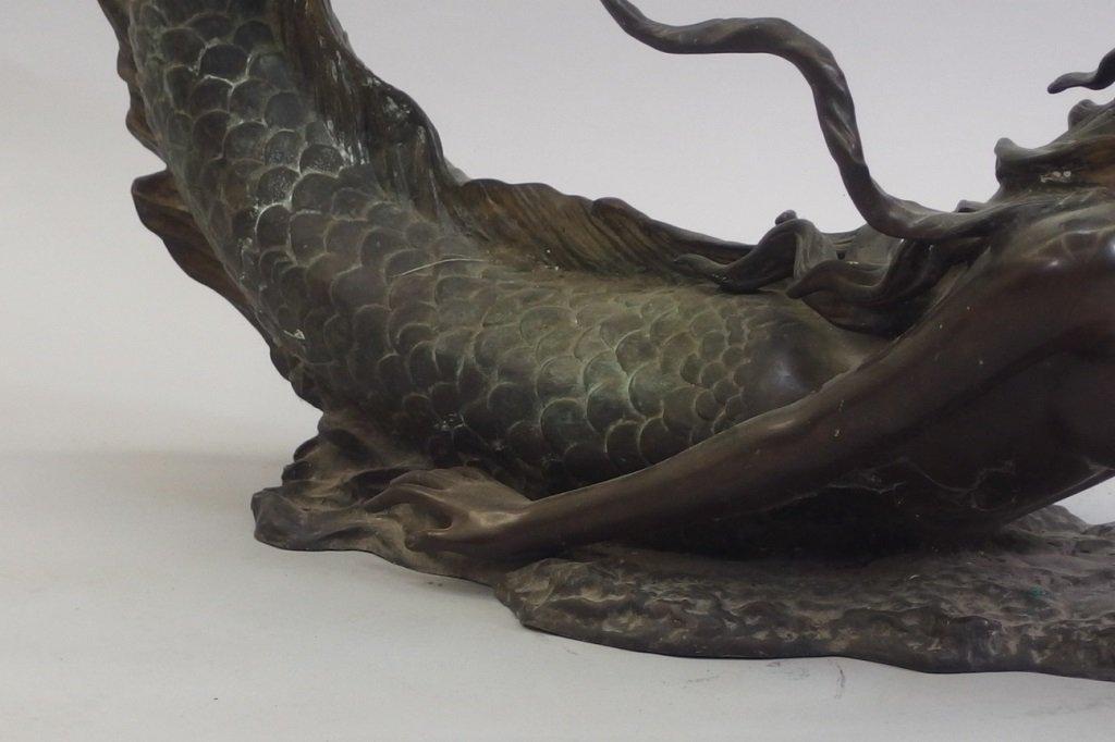 3/4 Life Size Bronze Mermaid & Glass Coffee Table - 9