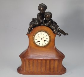 French Fruitwood Cupid Mantle Clock